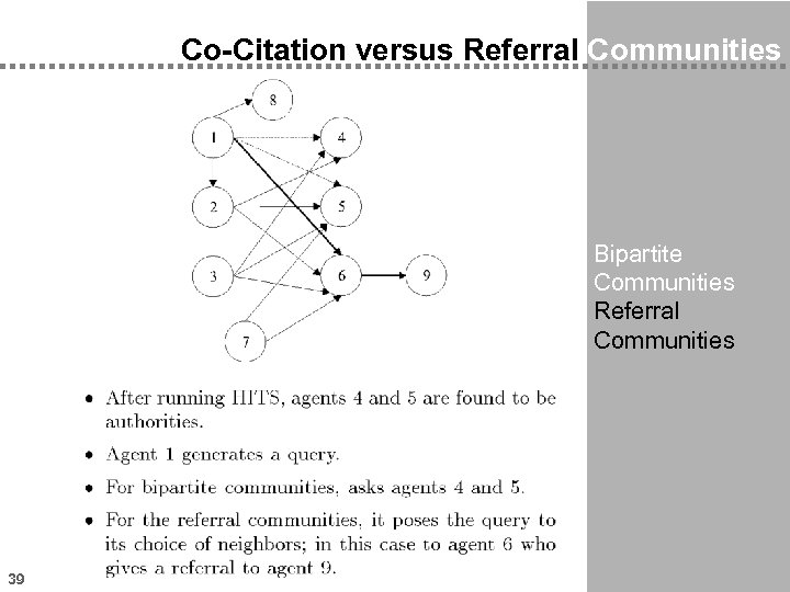 Co-Citation versus Referral Communities Bipartite Communities Referral Communities 39