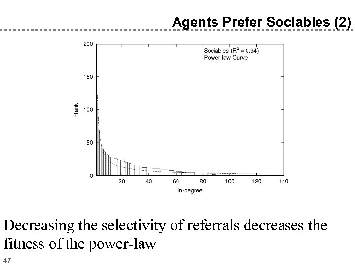 Agents Prefer Sociables (2) Decreasing the selectivity of referrals decreases the fitness of the