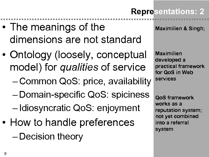 Representations: 2 • The meanings of the dimensions are not standard • Ontology (loosely,