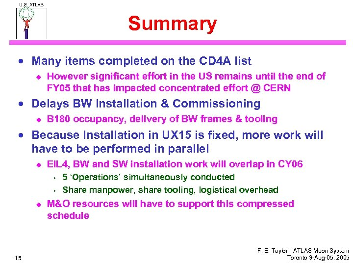 Summary · Many items completed on the CD 4 A list u However significant