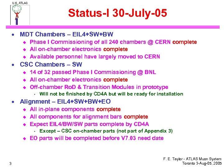 Status-I 30 -July-05 · MDT Chambers – EIL 4+SW+BW u u u Phase I