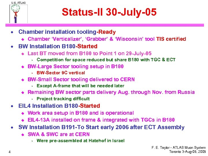 Status-II 30 -July-05 · Chamber installation tooling-Ready u Chamber 'Verticalizer', 'Grabber' & 'Wisconsin' tool