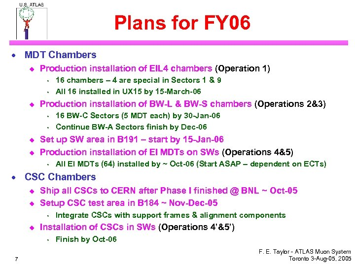 Plans for FY 06 · MDT Chambers u Production installation of EIL 4 chambers