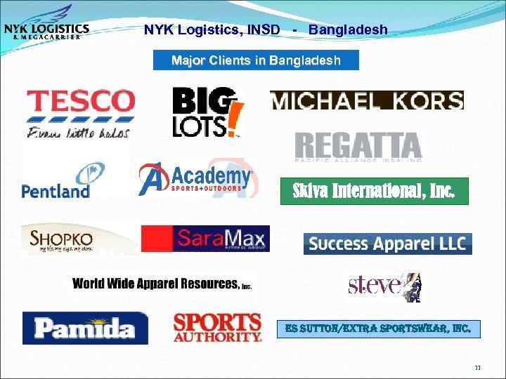 NYK Logistics, INSD - Bangladesh Major Clients in Bangladesh Skiva International, Inc. es sutton/extra