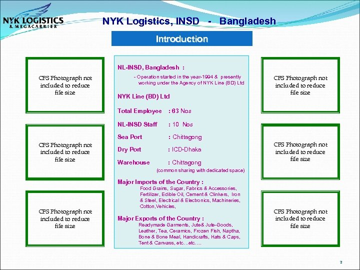 NYK Logistics, INSD - Bangladesh Introduction NL-INSD, Bangladesh : CFS Photograph not included to
