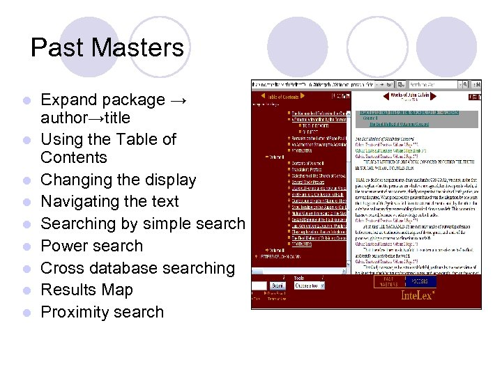 Past Masters l l l l l Expand package → author→title Using the Table
