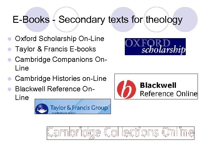 E-Books - Secondary texts for theology l l l Oxford Scholarship On-Line Taylor &