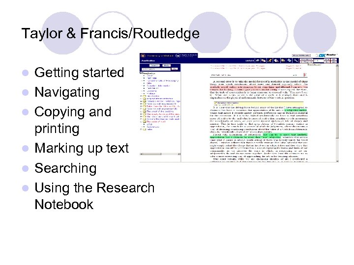 Taylor & Francis/Routledge l l l Getting started Navigating Copying and printing Marking up