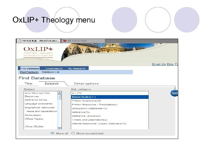 Ox. LIP+ Theology menu