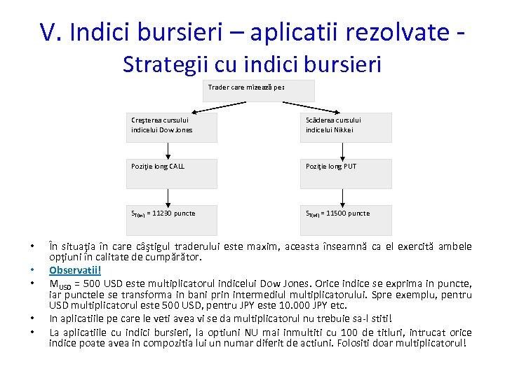 V. Indici bursieri – aplicatii rezolvate Strategii cu indici bursieri Trader care mizează pe: