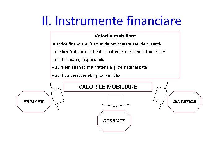 II. Instrumente financiare Valorile mobiliare = active financiare titluri de proprietate sau de creanţă