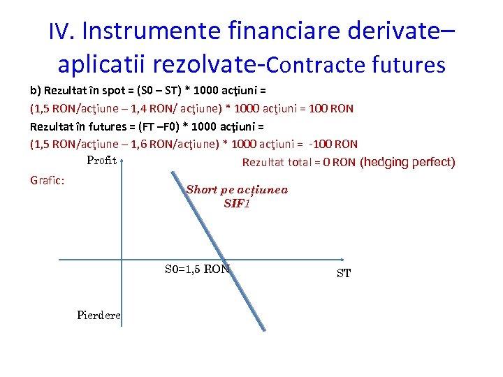 IV. Instrumente financiare derivate– aplicatii rezolvate-Contracte futures b) Rezultat în spot = (S 0