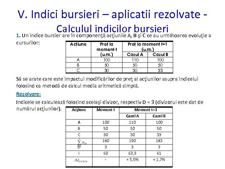 V. Indici bursieri – aplicatii rezolvate - Calculul indicilor B şi C ce au