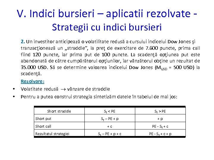 V. Indici bursieri – aplicatii rezolvate Strategii cu indici bursieri • • 2. Un
