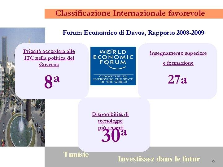 Classificazione Internazionale favorevole Forum Economico di Davos, Rapporto 2008 -2009 Priorità accordata alle ITC