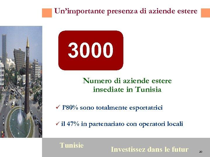 Un'importante presenza di aziende estere 3000 Numero di aziende estere insediate in Tunisia ü