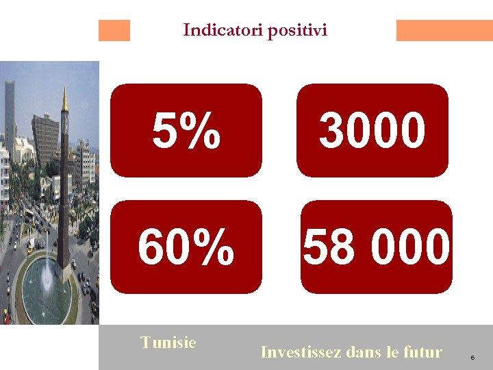 Indicatori positivi 5% 60% 6 3000 58 000 Tunisie Investissez dans le futur 6