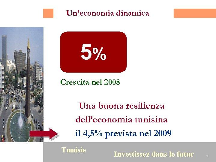 Un'economia dinamica 5% Crescita nel 2008 Una buona resilienza dell'economia tunisina il 4, 5%