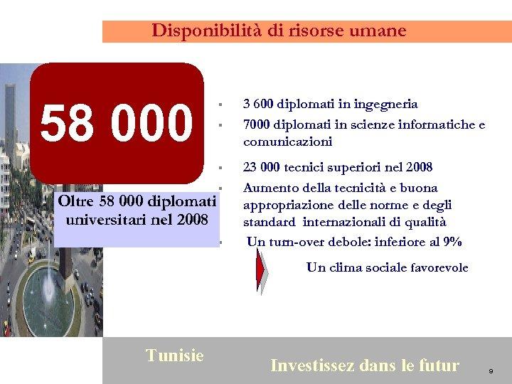 Disponibilità di risorse umane 58 000 § § § Oltre 58 000 diplomati universitari