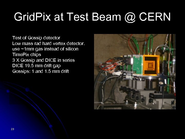 Grid. Pix at Test Beam @ CERN Test of Gossip detector Low mass rad
