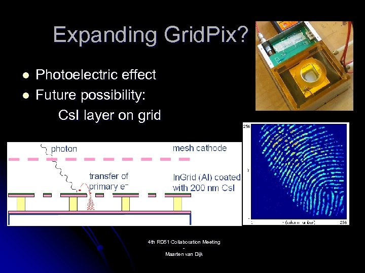 Expanding Grid. Pix? l l Photoelectric effect Future possibility: Cs. I layer on grid