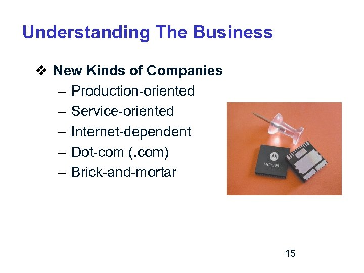 Understanding The Business v New Kinds of Companies – Production-oriented – Service-oriented – Internet-dependent