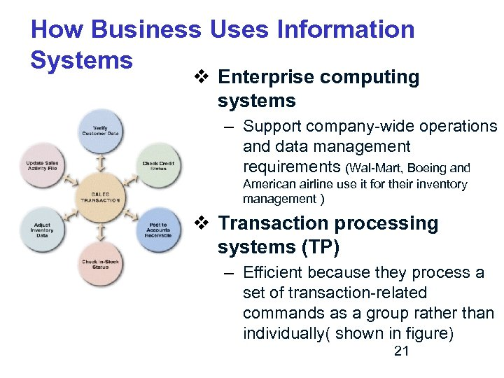 How Business Uses Information Systems v Enterprise computing systems – Support company-wide operations and