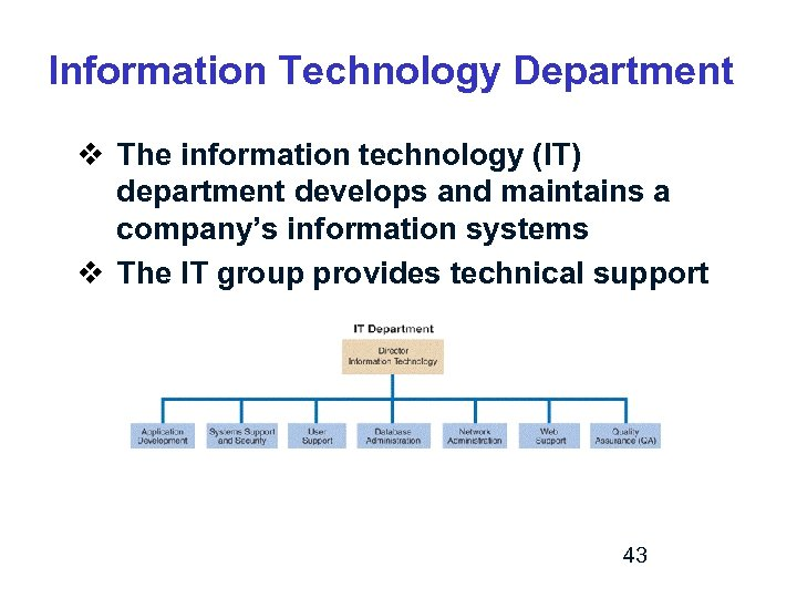 Information Technology Department v The information technology (IT) department develops and maintains a company's