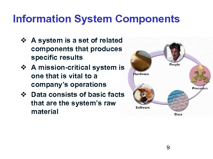 Information System Components v A system is a set of related components that produces