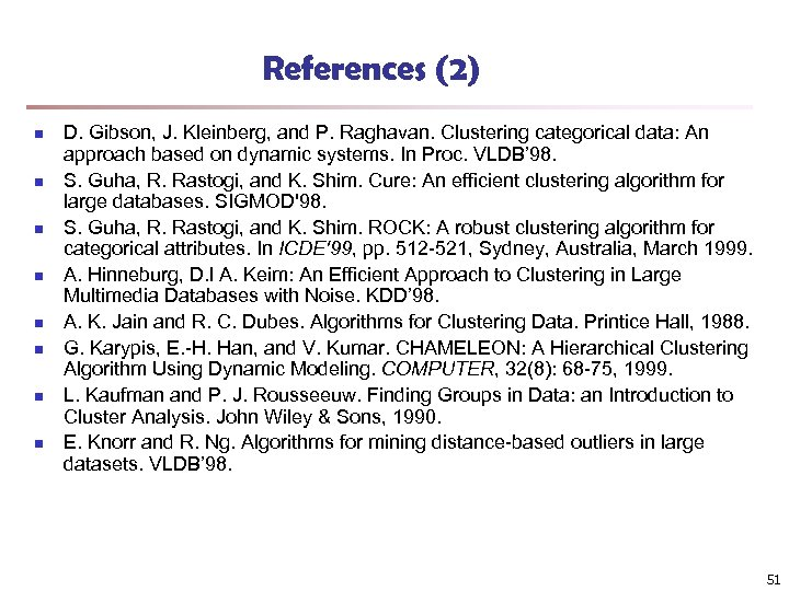 References (2) n n n n D. Gibson, J. Kleinberg, and P. Raghavan. Clustering