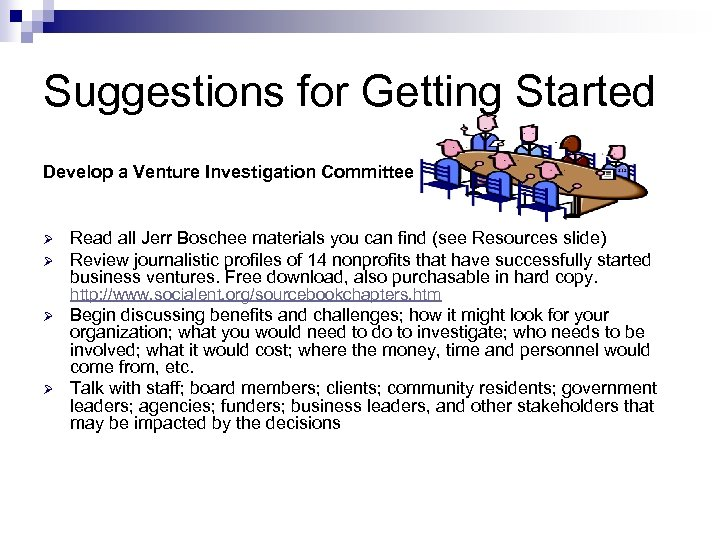 Suggestions for Getting Started Develop a Venture Investigation Committee Ø Ø Read all Jerr