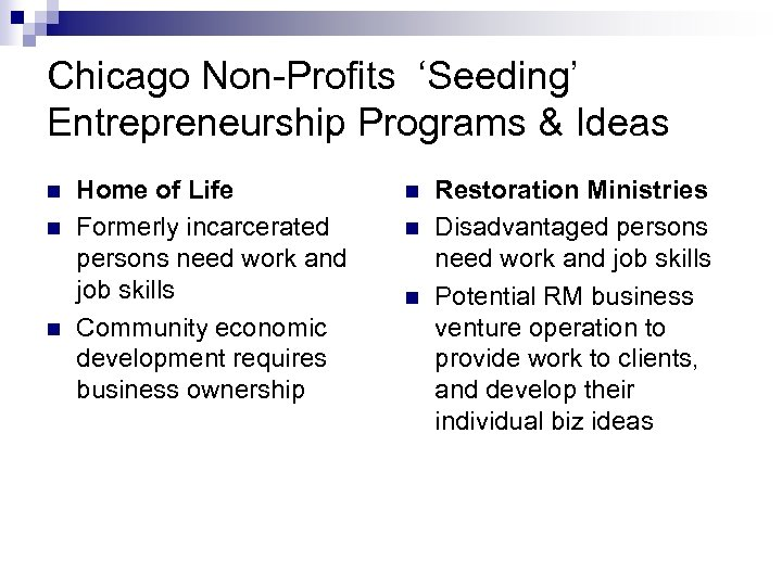 Chicago Non-Profits 'Seeding' Entrepreneurship Programs & Ideas n n n Home of Life Formerly