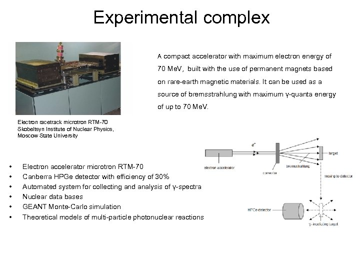 Experimental complex A compact accelerator with maximum electron energy of 70 Me. V, built