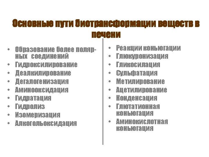 Основные пути биотрансформации веществ в печени • Образование более полярных соединений • Гидроксилирование •