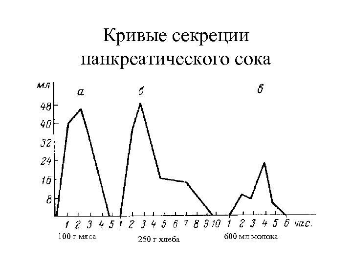 Кривые секреции панкреатического сока 100 г мяса 250 г хлеба 600 мл молока