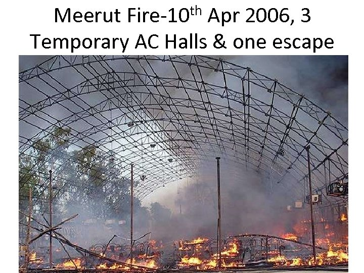 Meerut Fire-10 th Apr 2006, 3 Temporary AC Halls & one escape