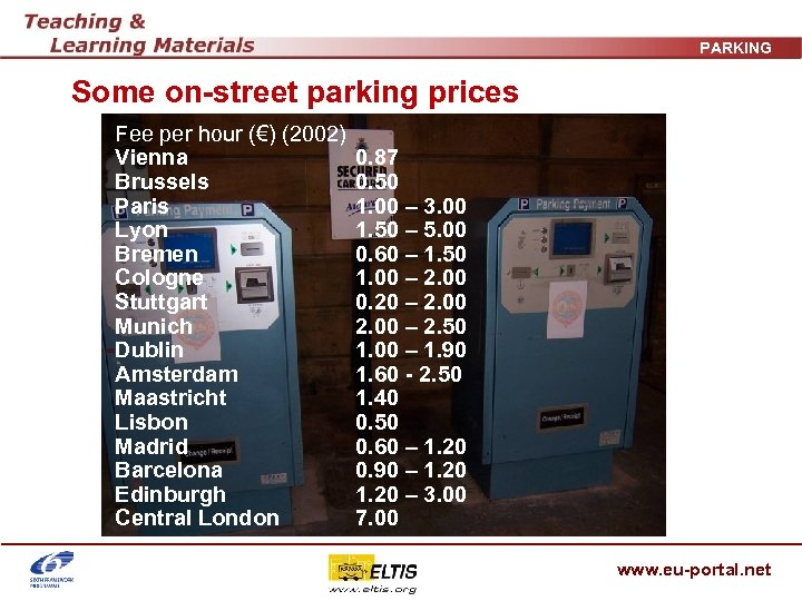 PARKING Some on-street parking prices Fee per hour (€) (2002) Vienna Brussels Paris Lyon