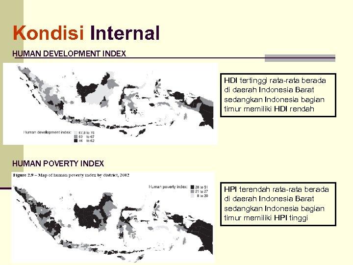 Kondisi Internal HUMAN DEVELOPMENT INDEX HDI tertinggi rata-rata berada di daerah Indonesia Barat sedangkan