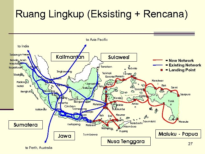 Ruang Lingkup (Eksisting + Rencana) to Asia Pacific to India Sabang to Thailand Kalimantan