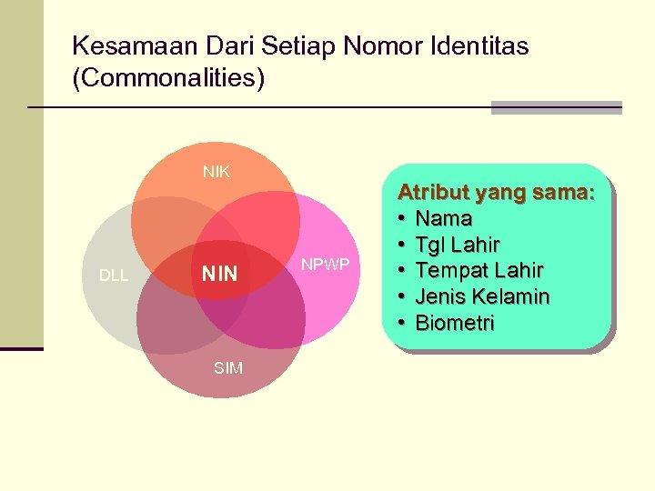 Kesamaan Dari Setiap Nomor Identitas (Commonalities) NIK DLL NIN SIM NPWP Atribut yang sama: