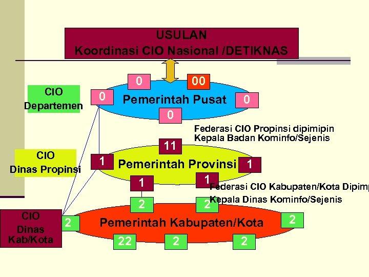 USULAN Koordinasi CIO Nasional /DETIKNAS CIO Departemen 0 0 00 Pemerintah Pusat 0 0