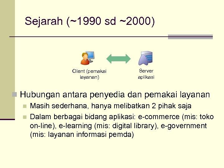 Sejarah (~1990 sd ~2000) Client (pemakai layanan) Server aplikasi n Hubungan antara penyedia dan
