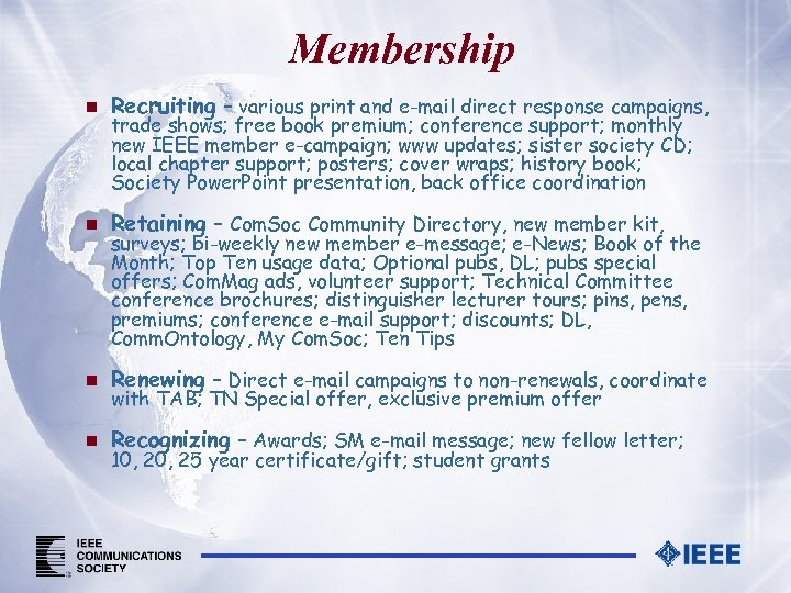 IEEE Communications Society Membership Marketing Recruit Retain