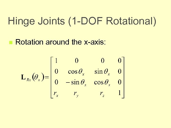 Hinge Joints (1 -DOF Rotational) n Rotation around the x-axis: