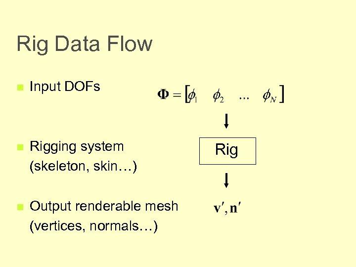 Rig Data Flow n Input DOFs n Rigging system (skeleton, skin…) n Output renderable