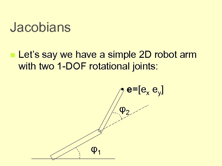 Jacobians n Let's say we have a simple 2 D robot arm with two