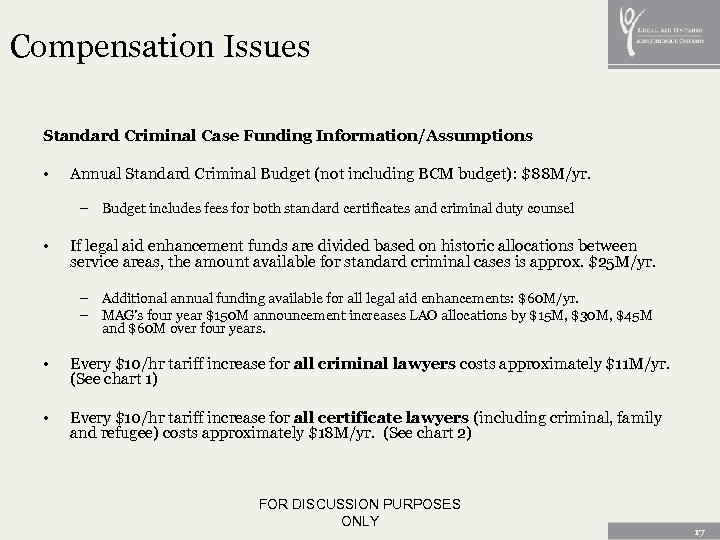Compensation Issues Standard Criminal Case Funding Information/Assumptions • Annual Standard Criminal Budget (not including