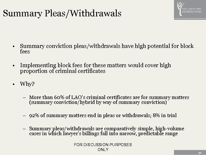 Summary Pleas/Withdrawals • Summary conviction pleas/withdrawals have high potential for block fees • Implementing