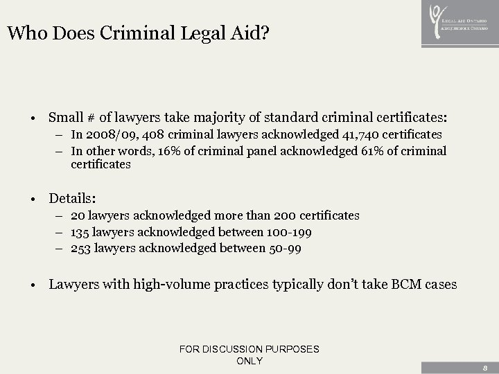 Who Does Criminal Legal Aid? • Small # of lawyers take majority of standard
