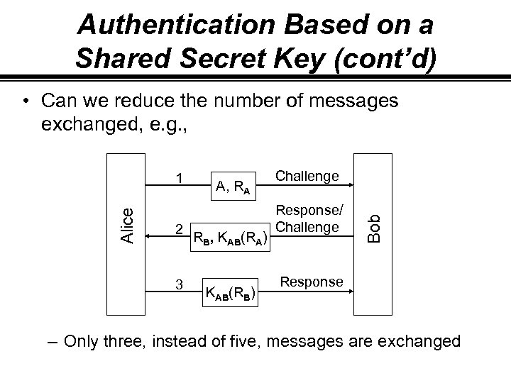 Authentication Based on a Shared Secret Key (cont'd) • Can we reduce the number
